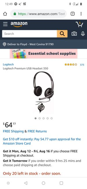2 Logitech Premium USB Headset 350 for Sale in Upland, CA