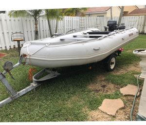 Inflatable boat with trailer and motor for Sale in Fort Lauderdale, FL