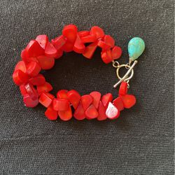 Braclelet - Red And Turquoise With Silver Clasp for Sale in Worcester,  MA