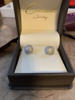 Square silver earring with diamonds for Sale in Laurence Harbor, NJ