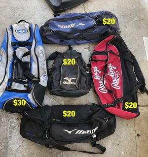 Baseball bags mizuno Rawlings easton equipment bats gloves for Sale in Los Angeles, CA
