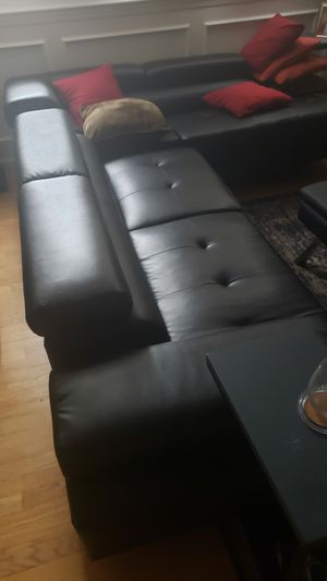 Leather couch with Ottoman $50 for Sale in Worcester, MA