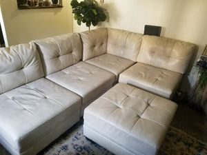 White faux leather sectional for Sale in Wheat Ridge, CO