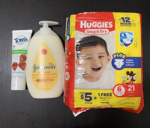 Huggies diaper, Johnson lotion, Tom's toothpaste for Sale in Brooklyn, NY