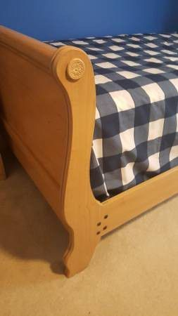 Twin size bed with spring mattress