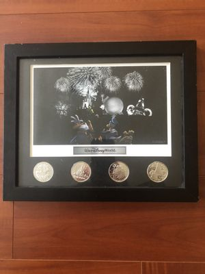 Walt Disney World park lithograph with 4 coin framed set for Sale in Tampa, FL