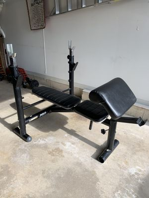 Marcy pro weight bench with rack & preacher pad. for Sale in Arlington Heights, IL