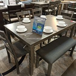 ASHLEY 6 PCS DINING SET, GRAY, SKU#TCD383 for Sale in Santa Ana,  CA