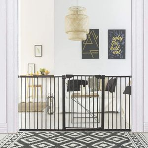 ALLAIBB Walk Through Baby Gate Auto Close Tension Black Metal Child Pet Safety Gates with Pressure Mount for Stairs,Doorways and Kitchen for Sale in Porter Ranch, CA
