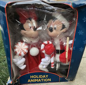 New Vintage 1997 Disney Holiday Animation Mickey & Minnie Mouse Christmas Figures for Sale in Stockton, CA