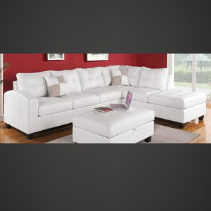 White Bonded Leather Sofa Sectional Couch for Sale in Downey, CA
