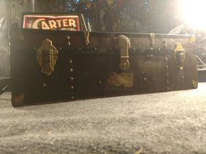 Excelsior Antique Metal Steamer Trunk for Sale in Tacoma, WA