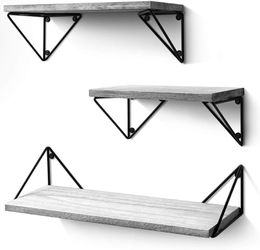 Rustic, Floating Shelves Set of 3 ((Wall Mounted)) for Living Room, Bedroom, Bathroom Gray for Sale in New York,  NY