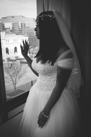 Wedding dress and head piece size 10 for Sale in Washington, DC