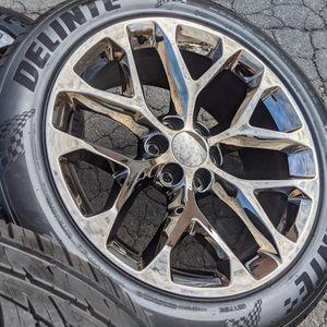 Black Chrome Wheels Tires 285 45 22 Chevy Tahoe Silverado P285 45R22 for Sale in Matthews, NC