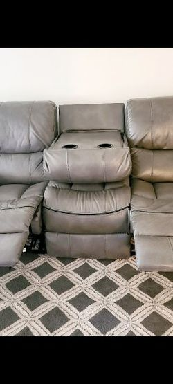 Grey Leather Recliner Couch Loveseat & Sofa for Sale in Columbia,  MD