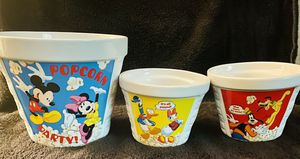 Disney- Mickey & Minnie and friends popcorn bowls for Sale in Moreno Valley, CA