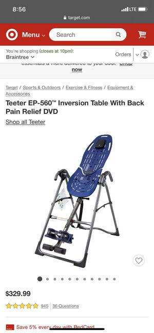 Teeter hang ups inversion table for back pain for Sale in Brockton, MA