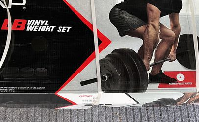 BRAND NEW SEALED CAP Vinyl Weights with Barbell and 100lbs Included, never opened! Great for deadlifts, Curls, press, squats! Easy to workout at home! for Sale in Oceanside,  CA