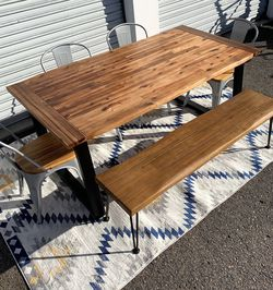 Live Edge Dining Table, Bench, & 4 Chairs for Sale in San Diego,  CA