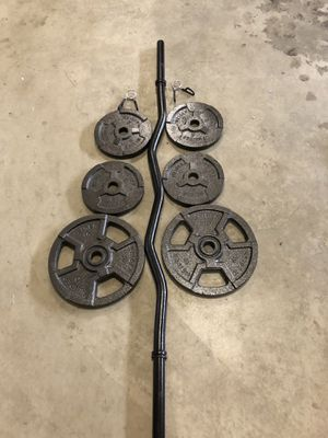 Curl bar and weight set (2-10lb and 4-5lb plates) for Sale in Renton, WA