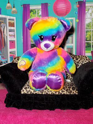 "RARE 💝 Build A Bear Rainbow Striped 17"" Plush Teddy BABW Heart Velcro Hands for Sale in Dale, TX"