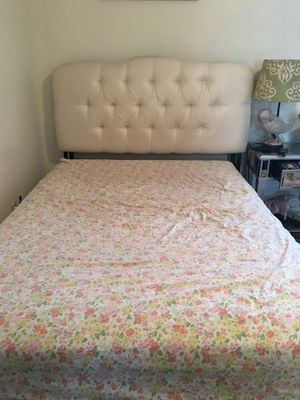 Pier 1 upholstered head board and bed frame size Full for Sale in Benton, KY