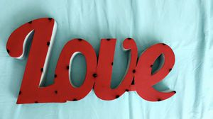 Retro Red & White Metal Love wall decor for Sale in Carlsbad, CA
