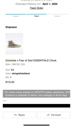 """Converse """"Fear Of God"""" Gray Sneaker Size 5.5 for Sale in Hicksville, NY"""