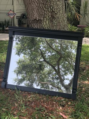 Beautiful Antique Black Wood Mantle/ vanity/wall mirror, great mantle piece for Sale in Davie, FL
