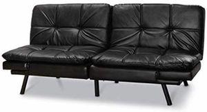 Black leather like futon sofa memory foam adjustable like new for Sale in Scottsdale, AZ