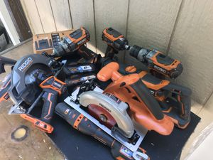 Ridgid tool set 7 tools and 3 batteries for Sale in Chico, CA