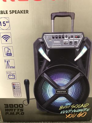 Bluetooth Rechargeable Party Speaker 15 inch Woofer WIred Mic LED Light Karaoke for Sale in Los Angeles, CA
