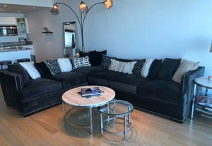 Gray velvet sectional or two couch set for Sale in Chicago, IL