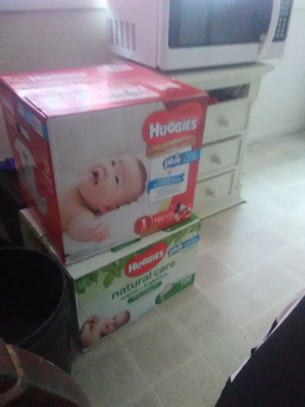 Huggies size 1 Pampers and wipes
