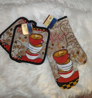 COFFEE TIME pot holders and mitt for Sale in Hawaiian Gardens, CA