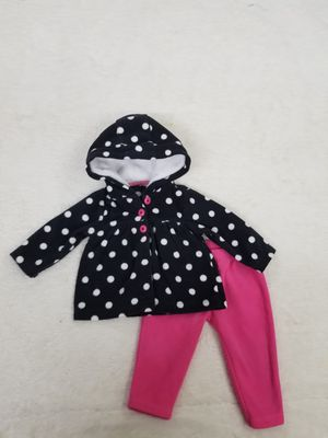Carter's Black/White Polka Dot Fleece Set With Hot Pink Fleece Pants, 6 months for Sale in Queens, NY