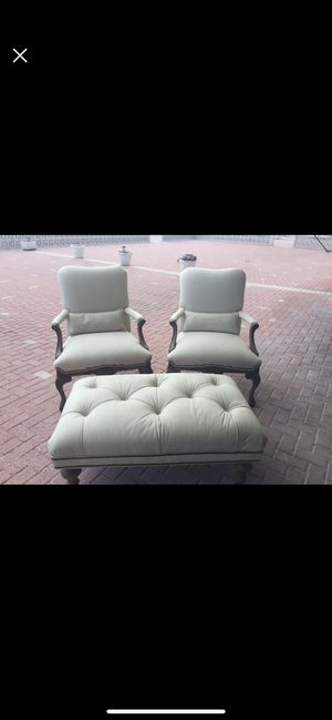 Beautiful custom Chippendale leather chair and ottoman set for Sale in Palm Beach, FL
