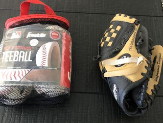 Rawlings Tee Ball Glove And Set Of Tee Ball Franklin Balls for Sale in Corona,  CA