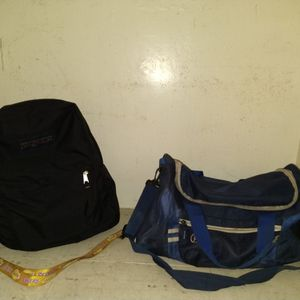 Black JanSport Backpack And A Blue Duffel Bag for Sale in Bakersfield, CA