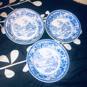 Beautiful Set/3 Vintage Rare OP.CO SYRACUSE Blue & White Small Plates Collectible Rare for Sale in Woodbridge, CT