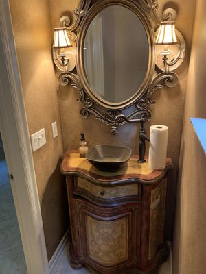 Mirror with attached light sconces for Sale in Newport Beach, CA