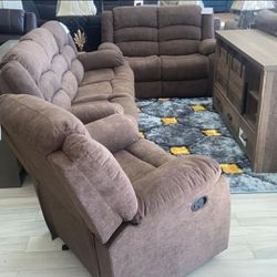 Fabric Brown Living Room Sofa&Loveseat Chair Recliner Set 🌟🌟 Finance Available No Credit Needed🧿SRH 🧿 for Sale in Houston,  TX