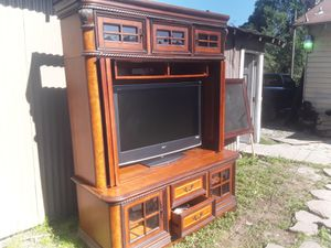 Aspen homes entertainment center with 46 inch TV good condition 450 for Sale in Houston, TX