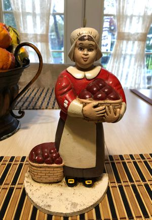 """Vintage Amish Lady with Apples 10"""" Tall Scarce Cast Iron Door Stop In Good Condition as Pictured for Sale in Berlin, NJ"""