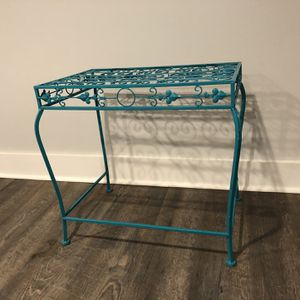 Turquoise Painted Iron Plant Or End Table for Sale in Durham, NC