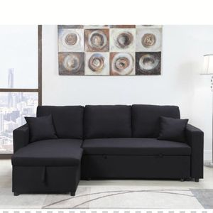 GRAY / BLACK Pull Out Sectional Sofa Reversible Chaise for Sale in Pomona, CA