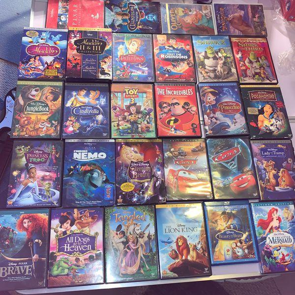 Big Lot of Disney Movies (28 Movies) Cars Lion King Brave Tangled Mermaid More