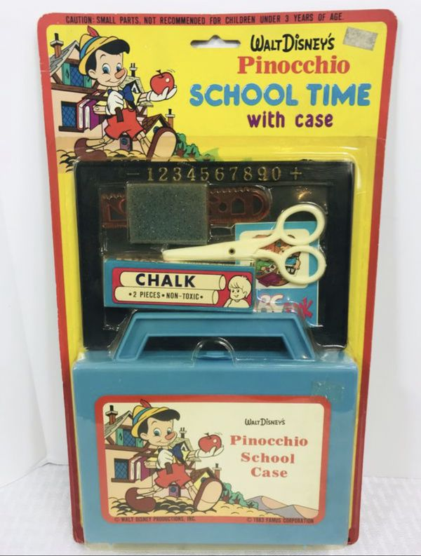 1983 vintage Disney's Pinocchio school time with Case Set is new in the packaging