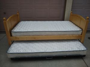 Solid Wood Twin Size Bed with Trundle and 2 Mattresses Bunk Literas for Sale in Modesto, CA